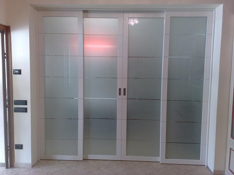 Porta scorrevole a 4 ante in vetro e alluminio padova - Porta scorrevole doppia ...