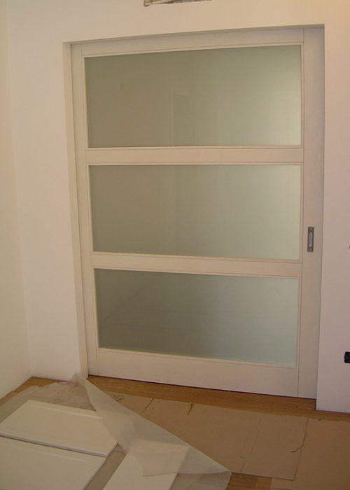 Porta scorrevole esterno muro in vetro legno padova for Finestra esterna scorrevole